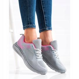 Bona Lekkie Buty Sportowe różowe szare 4