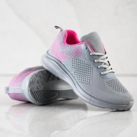 Bona Lekkie Buty Sportowe różowe szare 2
