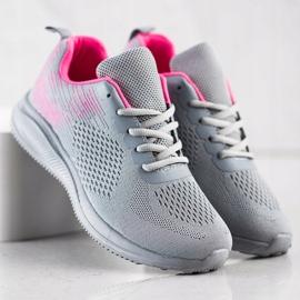 Bona Lekkie Buty Sportowe różowe szare 3