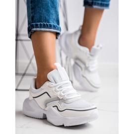 SHELOVET Lekkie Sportowe Sneakersy białe 4