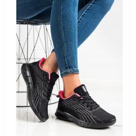 Bona Ażurowe Buty Sportowe czarne różowe szare 4