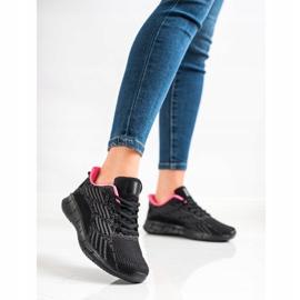 Bona Ażurowe Buty Sportowe czarne różowe szare 3