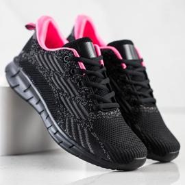 Bona Ażurowe Buty Sportowe czarne różowe szare 1