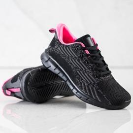 Bona Ażurowe Buty Sportowe czarne różowe szare 2