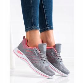 Bona Buty Sportowe Running Speed różowe szare 3