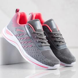 Bona Buty Sportowe Running Speed różowe szare 4