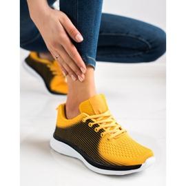 Bona Lekkie Sportowe Sneakersy czarne żółte 2