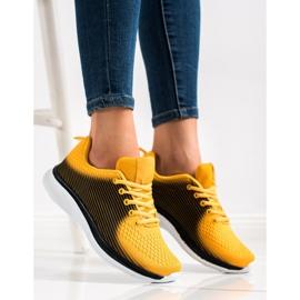 Bona Lekkie Sportowe Sneakersy czarne żółte 3