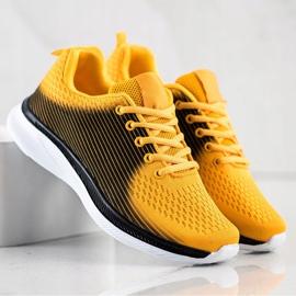 Bona Lekkie Sportowe Sneakersy czarne żółte 1