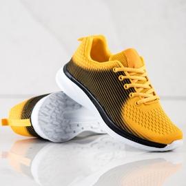 Bona Lekkie Sportowe Sneakersy czarne żółte 4