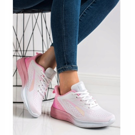 Bona Ażurowe Sneakersy Na Wiosnę białe różowe 2