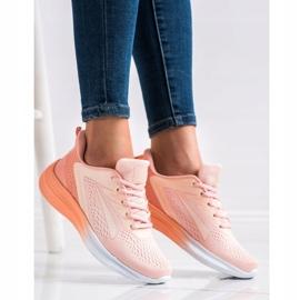 Bona Ażurowe Sneakersy Na Wiosnę pomarańczowe różowe 3
