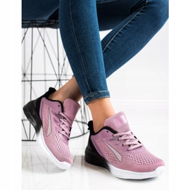 Bona Ażurowe Sneakersy Na Wiosnę czarne fioletowe różowe 3