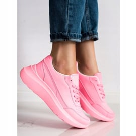 SHELOVET Klasyczne Sneakersy Z Eko Skóry różowe 3
