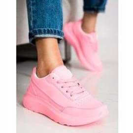 SHELOVET Klasyczne Sneakersy Z Eko Skóry różowe 1