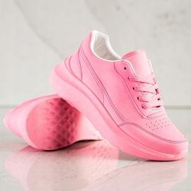 SHELOVET Klasyczne Sneakersy Z Eko Skóry różowe 4