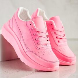 SHELOVET Klasyczne Sneakersy Z Eko Skóry różowe 5