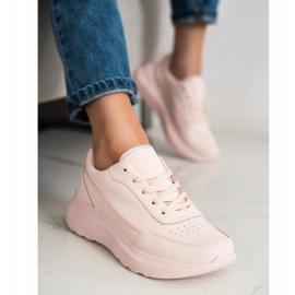 SHELOVET Klasyczne Sneakersy Z Eko Skóry różowe 2