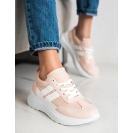SHELOVET Buty Sportowe Na Platformie różowe 4