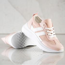 SHELOVET Buty Sportowe Na Platformie różowe 3