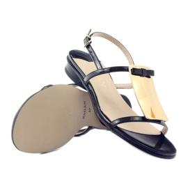 Sandały damskie ozdoba złota Sagan 2698 czarne 3