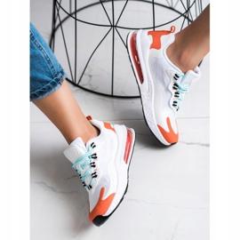 SHELOVET Tekstylne Sneakersy białe wielokolorowe 5