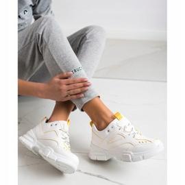SHELOVET Modne Białe Sneakersy żółte 3