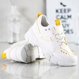 SHELOVET Modne Białe Sneakersy żółte 1