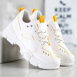 SHELOVET Modne Białe Sneakersy żółte 2