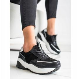 Czarne Skórzane Sneakersy VINCEZA srebrny 1