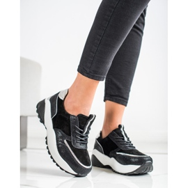 Czarne Skórzane Sneakersy VINCEZA srebrny 2