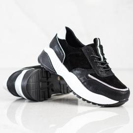 Czarne Skórzane Sneakersy VINCEZA srebrny 3