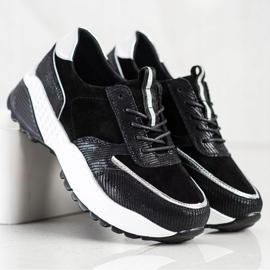 Czarne Skórzane Sneakersy VINCEZA srebrny 4