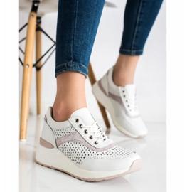 Goodin Skórzane Sneakersy Z Ażurowym Wzorem białe 2