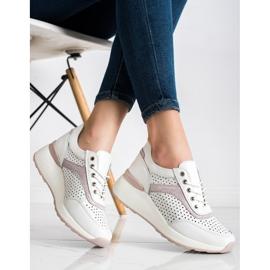 Goodin Skórzane Sneakersy Z Ażurowym Wzorem białe 3