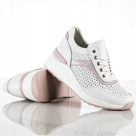 Goodin Skórzane Sneakersy Z Ażurowym Wzorem białe 1
