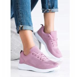 SUPER COOL Lekkie Ażurowe Sneakersy różowe 2