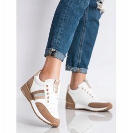SHELOVET Sneakersy Z Zamszową Wstawką białe brązowe 2