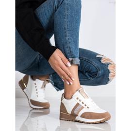 SHELOVET Sneakersy Z Zamszową Wstawką białe brązowe 1
