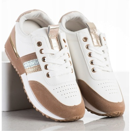 SHELOVET Sneakersy Z Zamszową Wstawką białe brązowe 3