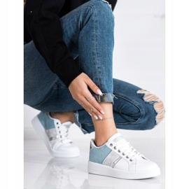 SHELOVET Buty Sportowe Z Zamszową Wstawką białe niebieskie 3