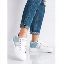 SHELOVET Buty Sportowe Z Zamszową Wstawką białe niebieskie 1