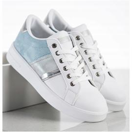 SHELOVET Buty Sportowe Z Zamszową Wstawką białe niebieskie 2