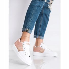 SHELOVET Buty Sportowe Z Zamszową Wstawką białe różowe 1