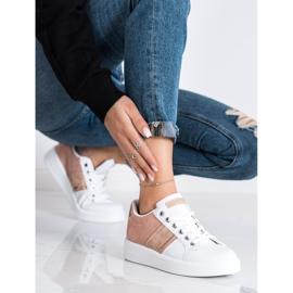 SHELOVET Buty Sportowe Z Zamszową Wstawką białe różowe 3
