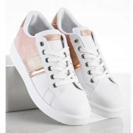 SHELOVET Buty Sportowe Z Zamszową Wstawką białe różowe 2