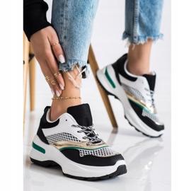 SHELOVET Sneakersy Na Platformie Z Siateczką białe czarne wielokolorowe 1