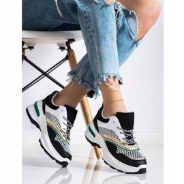 SHELOVET Sneakersy Na Platformie Z Siateczką białe czarne wielokolorowe 3