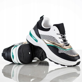 SHELOVET Sneakersy Na Platformie Z Siateczką białe czarne wielokolorowe 2