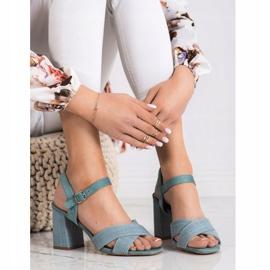 Sandały Na Obcasie VINCEZA niebieskie zielone 2